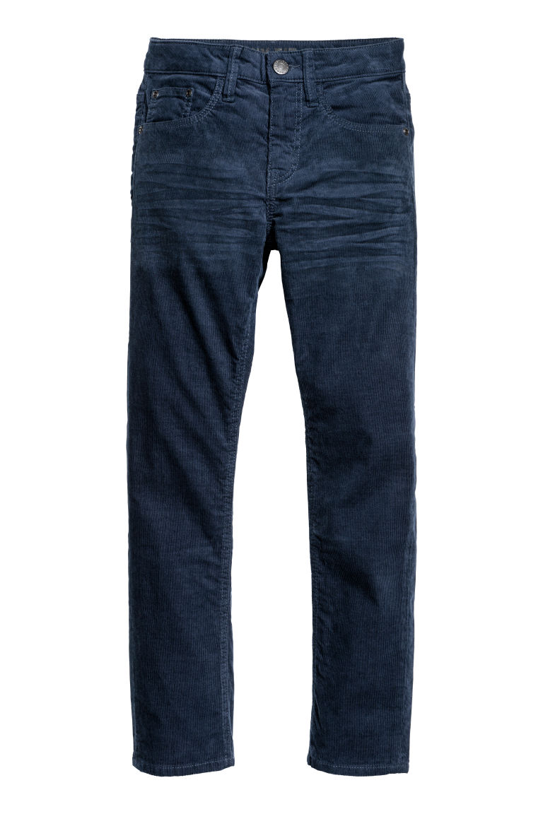 Corduroy trousers Skinny fit - Dark blue - Kids | H&M CN