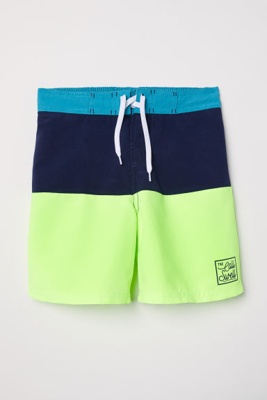 Swim shorts - Neon green/Block-coloured - Kids | H&M