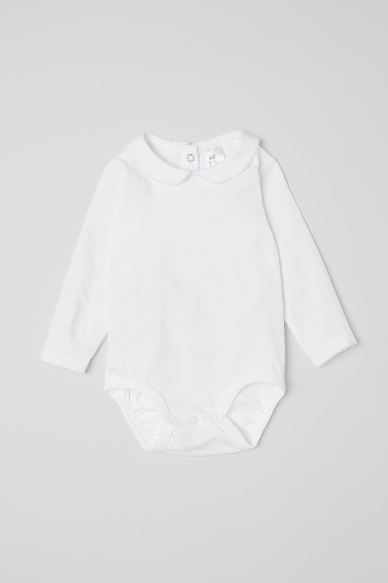 Bodysuit with a collar - White - Kids | H&M GB