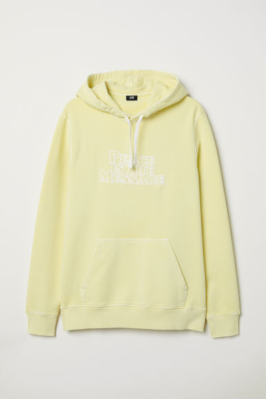 Text-print hooded top - Light yellow - Men | H&M CN