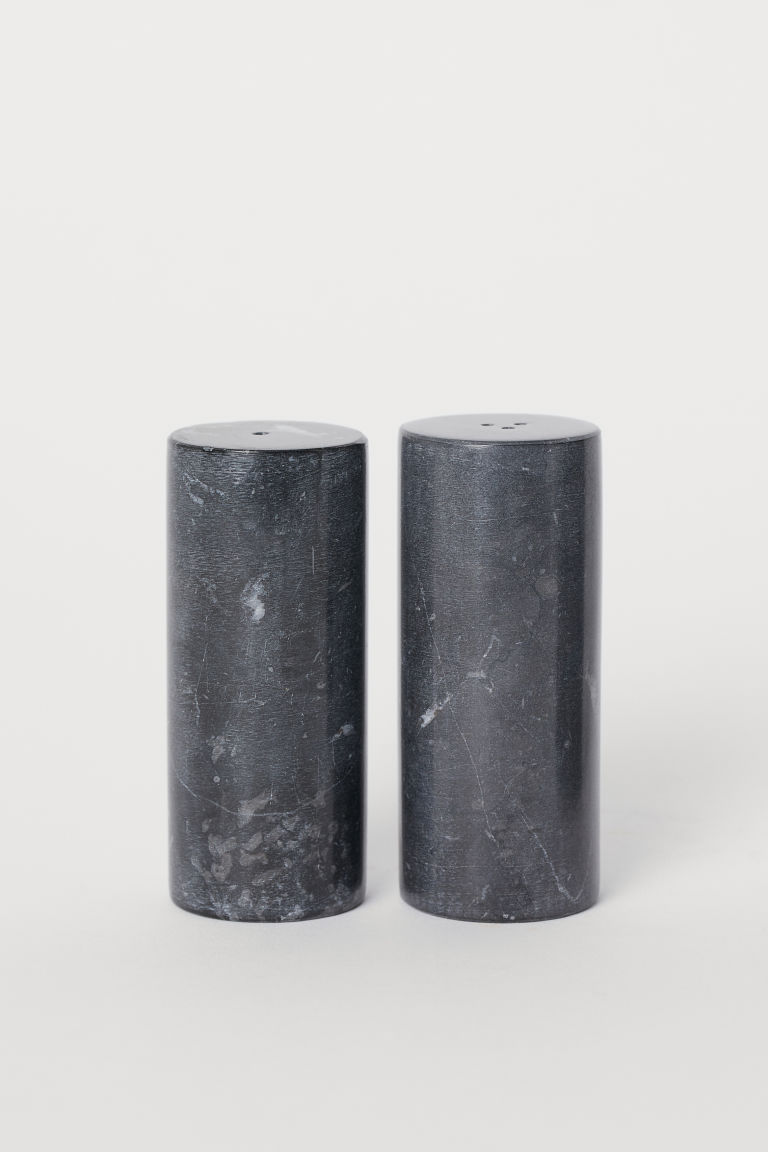 Marble salt and pepper set - Dark grey/Marble - Home All | H&M GB