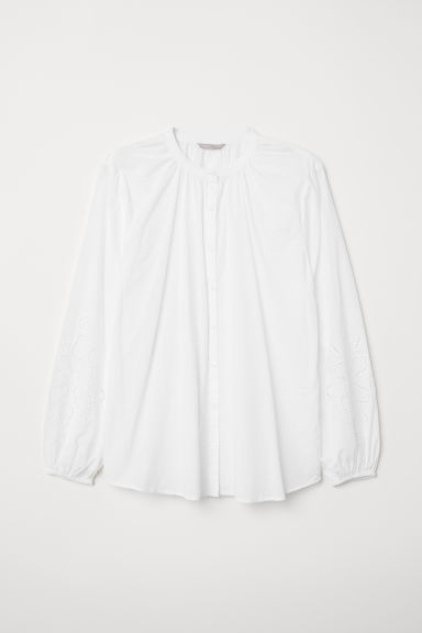 H&M+ Embroidered blouse - White - Ladies | H&M CN