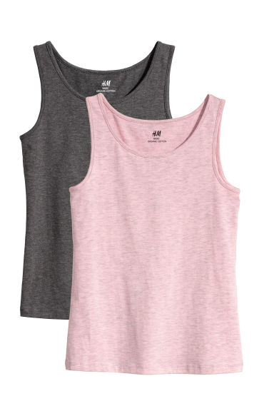 2-pack tops - Pink/Grey marl - Kids | H&M