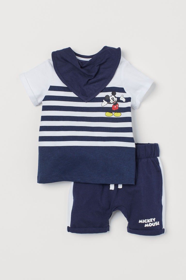 3-piece Jersey Set - Dark blue/Mickey Mouse - Kids | H&M US