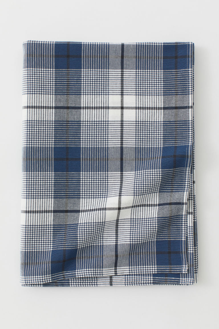 Checked cotton tablecloth - Dark blue/Checked - Home All | H&M GB