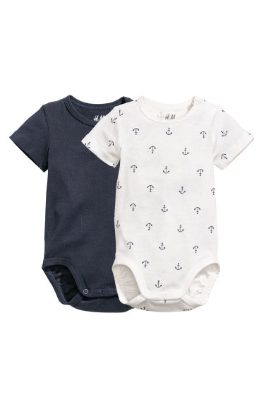 2-pack bodysuits - White/Anchors - Kids | H&M