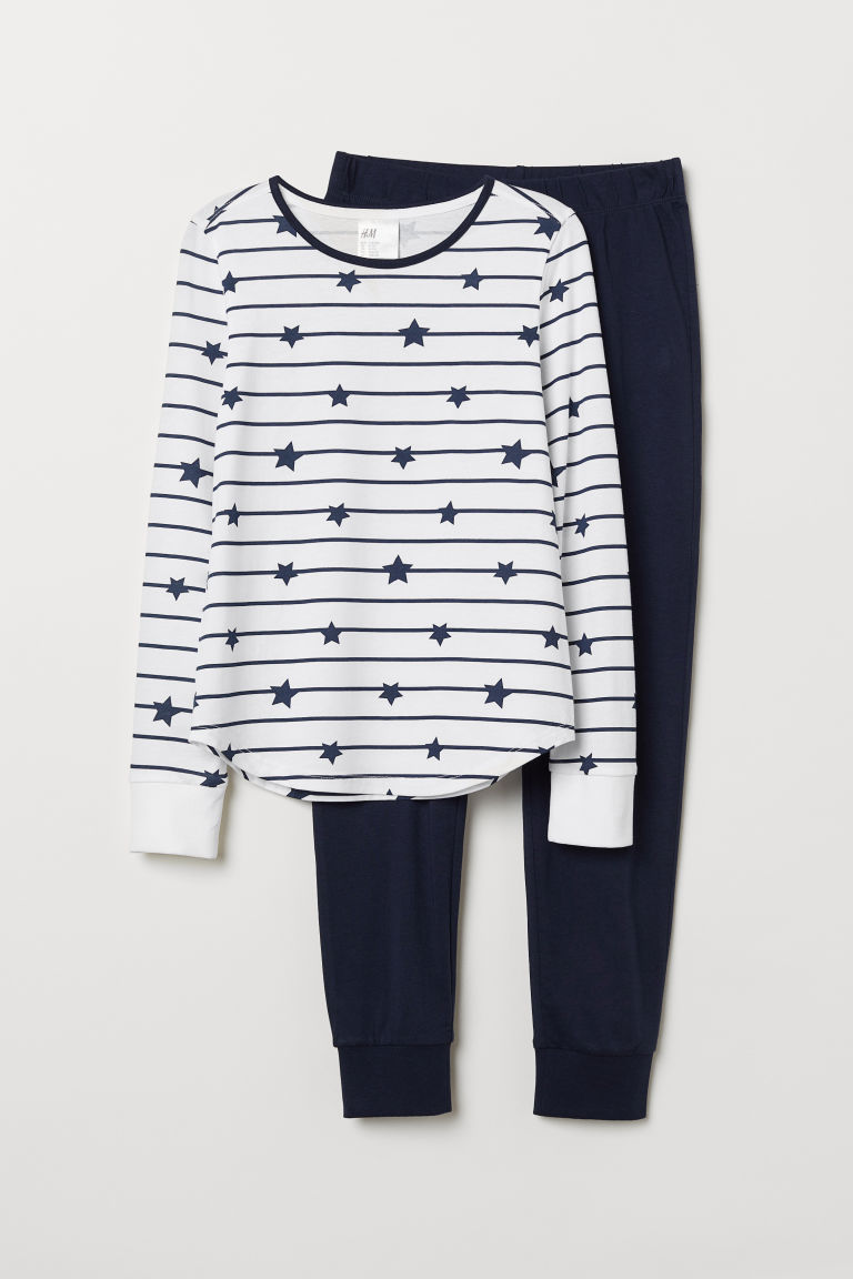Jersey pyjamas - White/Striped - Kids | H&M
