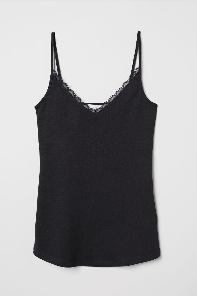 56c89b582939ba Lace-trimmed Camisole Top - Black - Ladies | H&M ...
