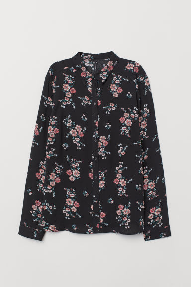 Viscose shirt - Black/Floral - Ladies | H&M