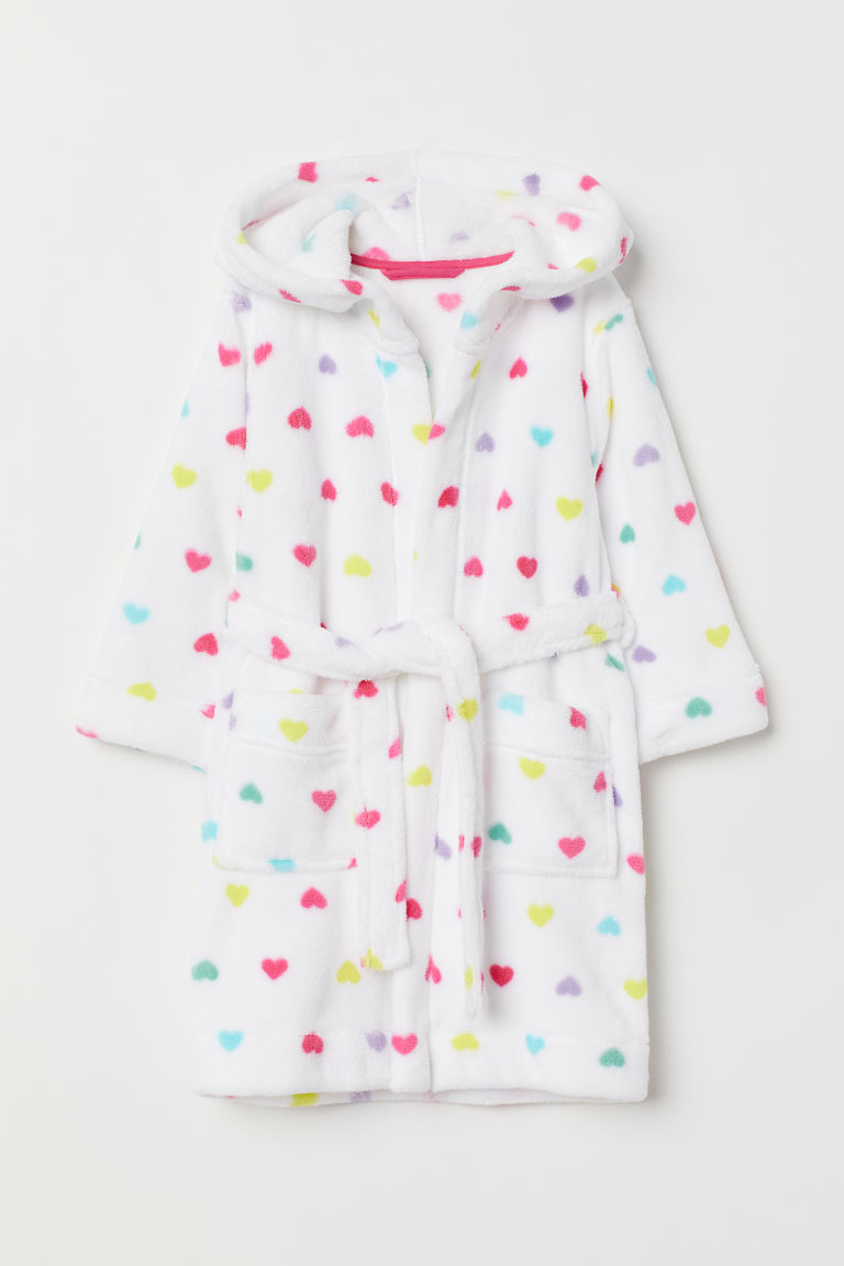 Fleece dressing gown - White/Hearts - Kids | H&M CN
