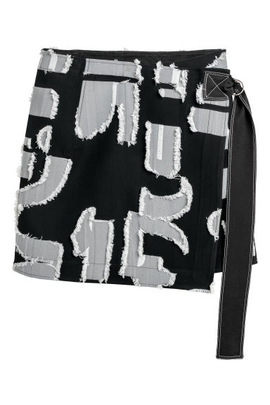Jacquard-patterned skirt - Black/White patterned - Ladies | H&M