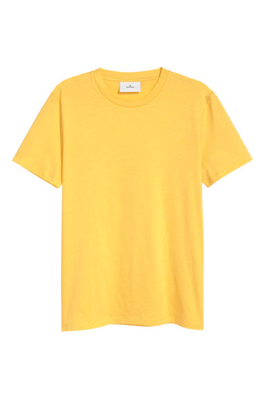 Cotton and silk T-shirt - Yellow - Men | H&M CN