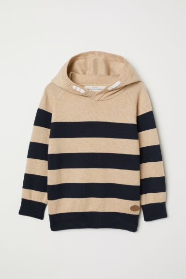 Fine-knit hooded jumper - Dark beige/Striped - Kids | H&M CN