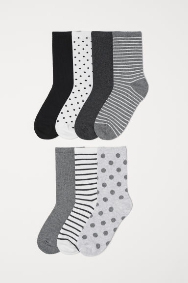 7-pack socks - Light grey/Spotted - Ladies | H&M CN
