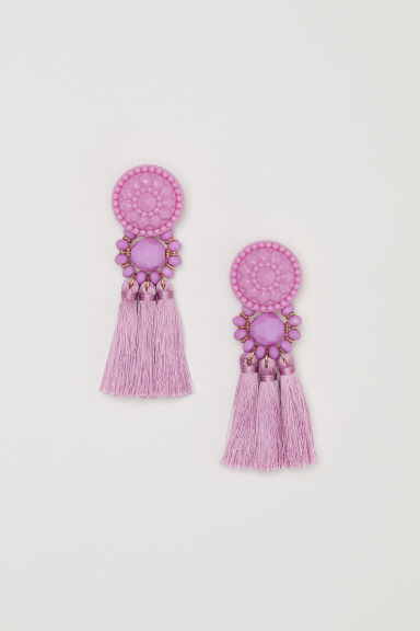 Earrings with tassels - Light pink - Ladies | H&M CN