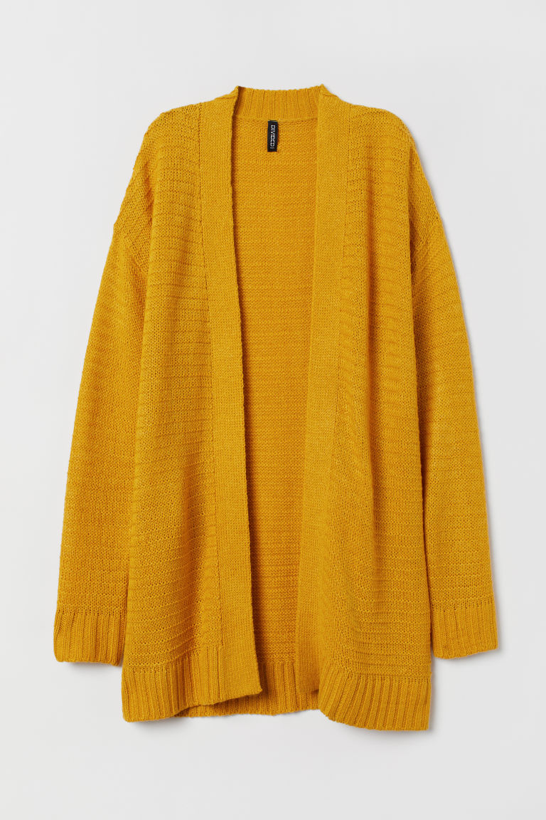 Knitted cardigan - Mustard yellow -  | H&M