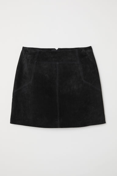 Short suede skirt - Black - Ladies | H&M