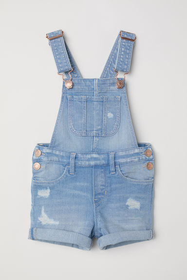 Denim dungaree shorts - Light denim blue -  | H&M