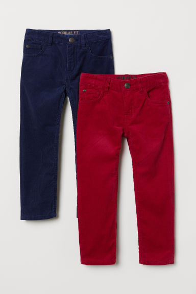 2-pack corduroy trousers - Red/Dark blue - Kids | H&M CN