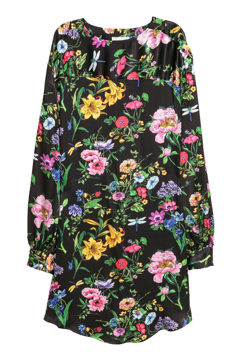 Wide satin dress - Black/Floral - Ladies | H&M
