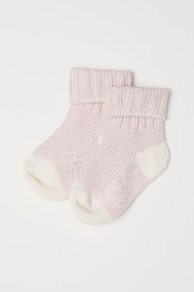 Textured-knit socks - Light pink - Kids | H&M