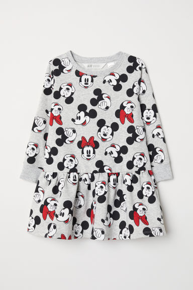 Sweatshirt dress - Grey marl/Mickey and Minnie - Kids | H&M CN