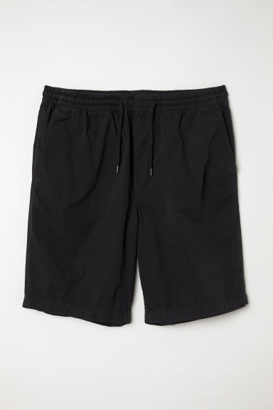 Katoenen short met elastiek - Zwart -  | H&M BE