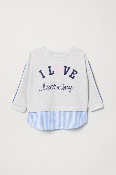 Sweatshirt with a motif - Light grey marl - Kids | H&M CN