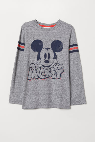 Printed jersey top - Grey marl/Mickey Mouse - Kids | H&M