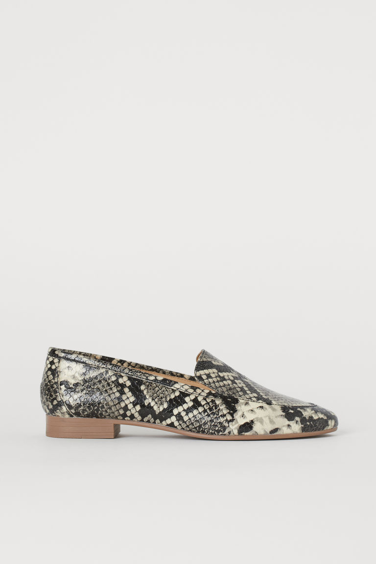 Leather Loafers - Cream/snakeskin-patterned - Ladies | H&M US