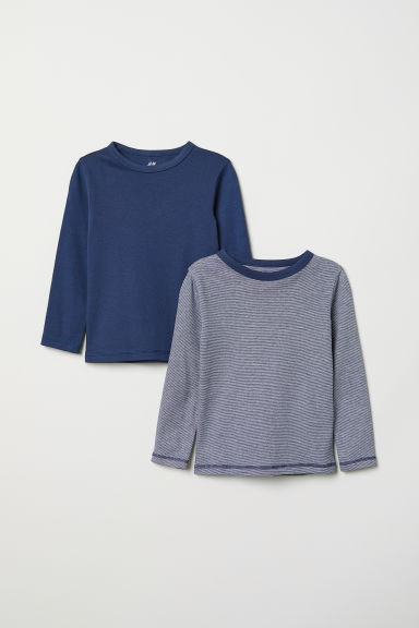2-pack jersey tops - Dark blue/Striped - Kids | H&M