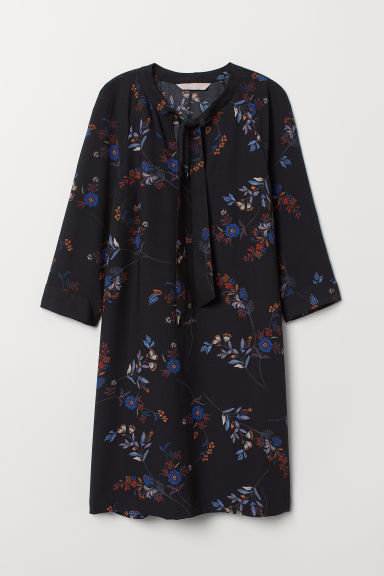 Dress with Ties - Black/floral - Ladies | H&M US
