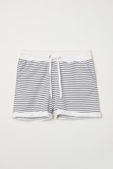 Shorts in felpa - Bianco/righe - DONNA | H&M IT