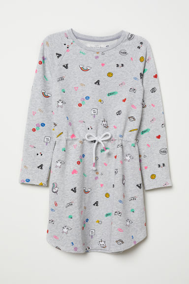 Sweatshirt dress - Light grey marl/Patterned - Kids | H&M CN
