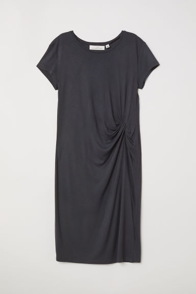Draped jersey dress - Dark grey - Ladies | H&M