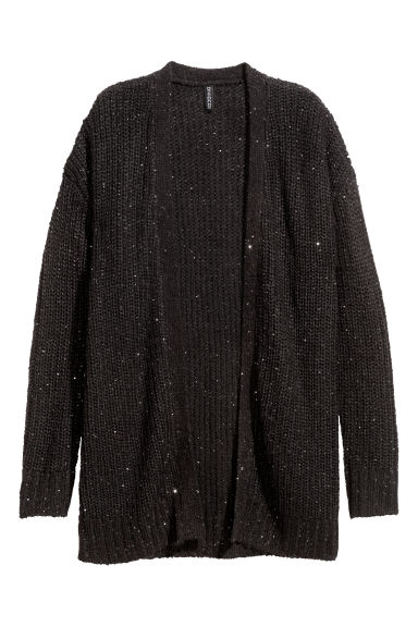 Ribbed cardigan - Black/Sequins -  | H&M