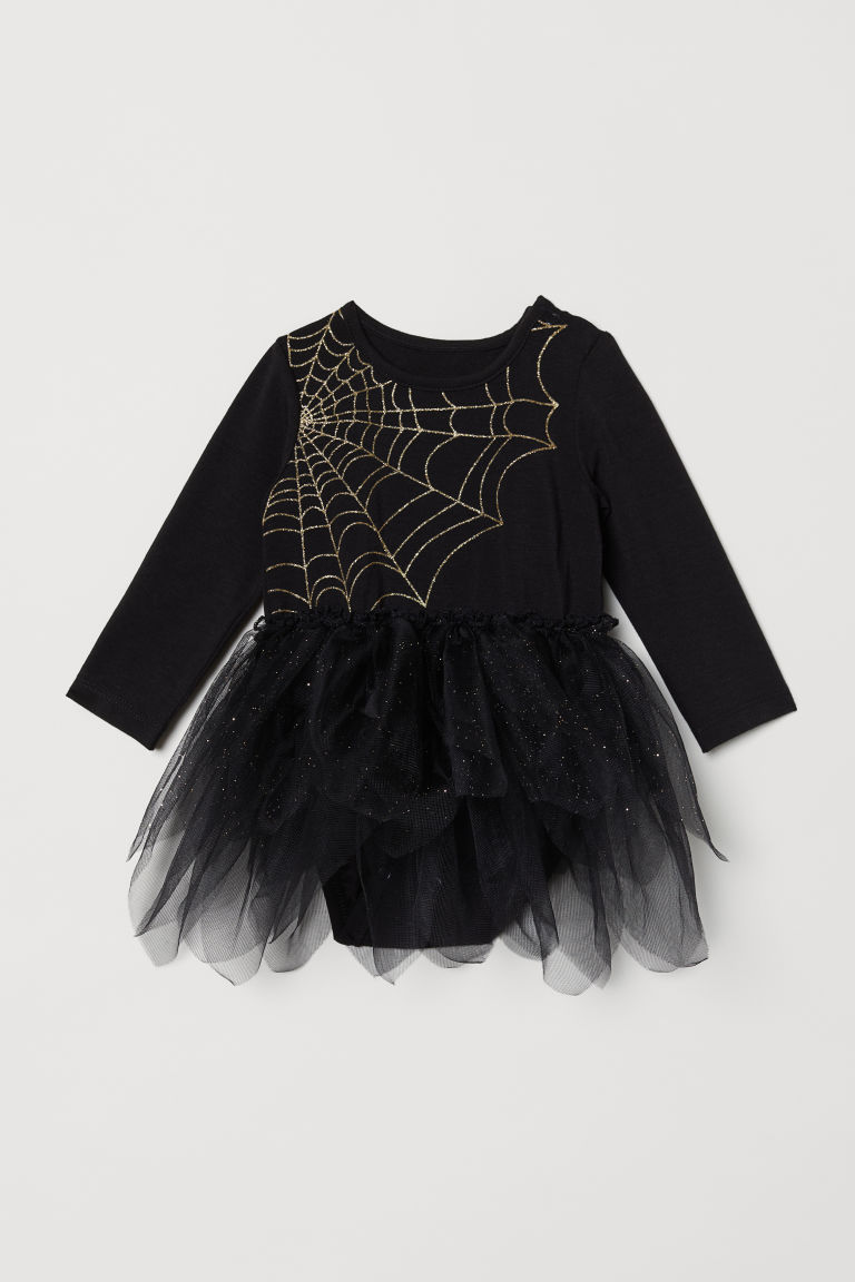 Bodysuit with a tulle skirt - Black/Glittery - Kids | H&M