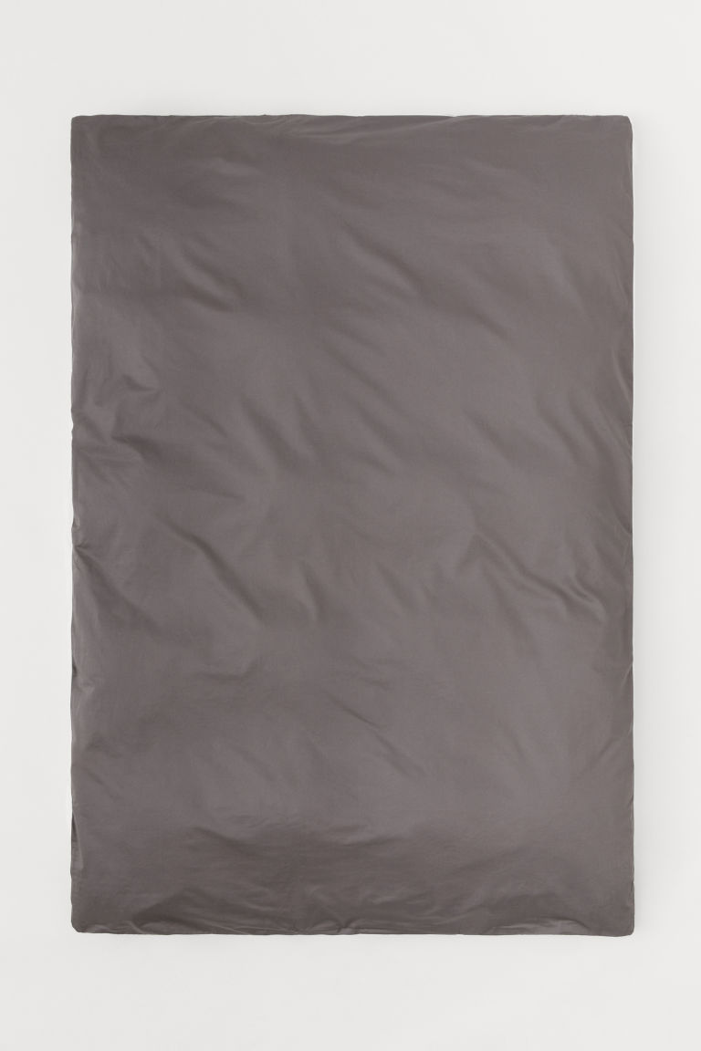 Cotton satin duvet cover - Dark grey - Home All | H&M IE