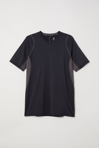 Short-sleeved sports top - Black -  | H&M