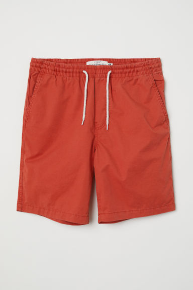 Elasticated cotton shorts - Red - Men | H&M