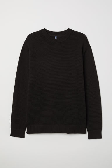 Textured-knit jumper - Black - Men | H&M