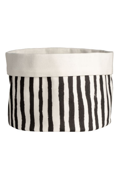 Fabric bread basket - Natural white/Black striped -  | H&M GB