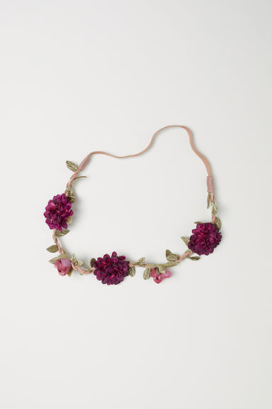 Hairband with flowers - Dark pink - Ladies | H&M CN