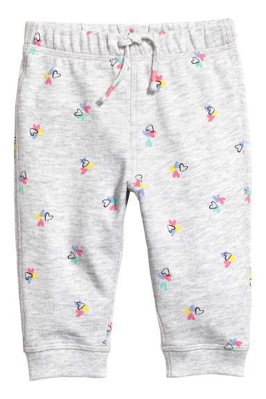 Patterned joggers - Light grey/Hearts - Kids | H&M CN
