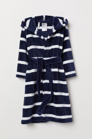 Fleece dressing gown - Dark blue/Striped - Kids | H&M