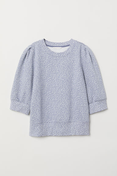 Puff-sleeved sweatshirt - Blue/Floral - Ladies | H&M