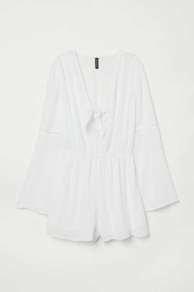 Playsuit with knot detail - White - Ladies | H&M CN