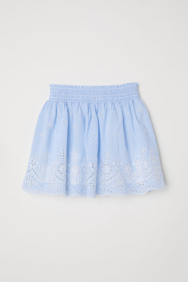 Skirt with broderie anglaise - Light blue/Striped -  | H&M CN