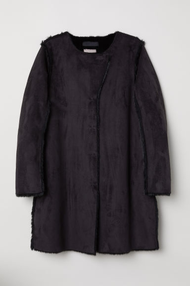H&M+ Imitation suede coat - Black - Ladies | H&M