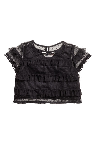 Mesh frilled top - Black -  | H&M